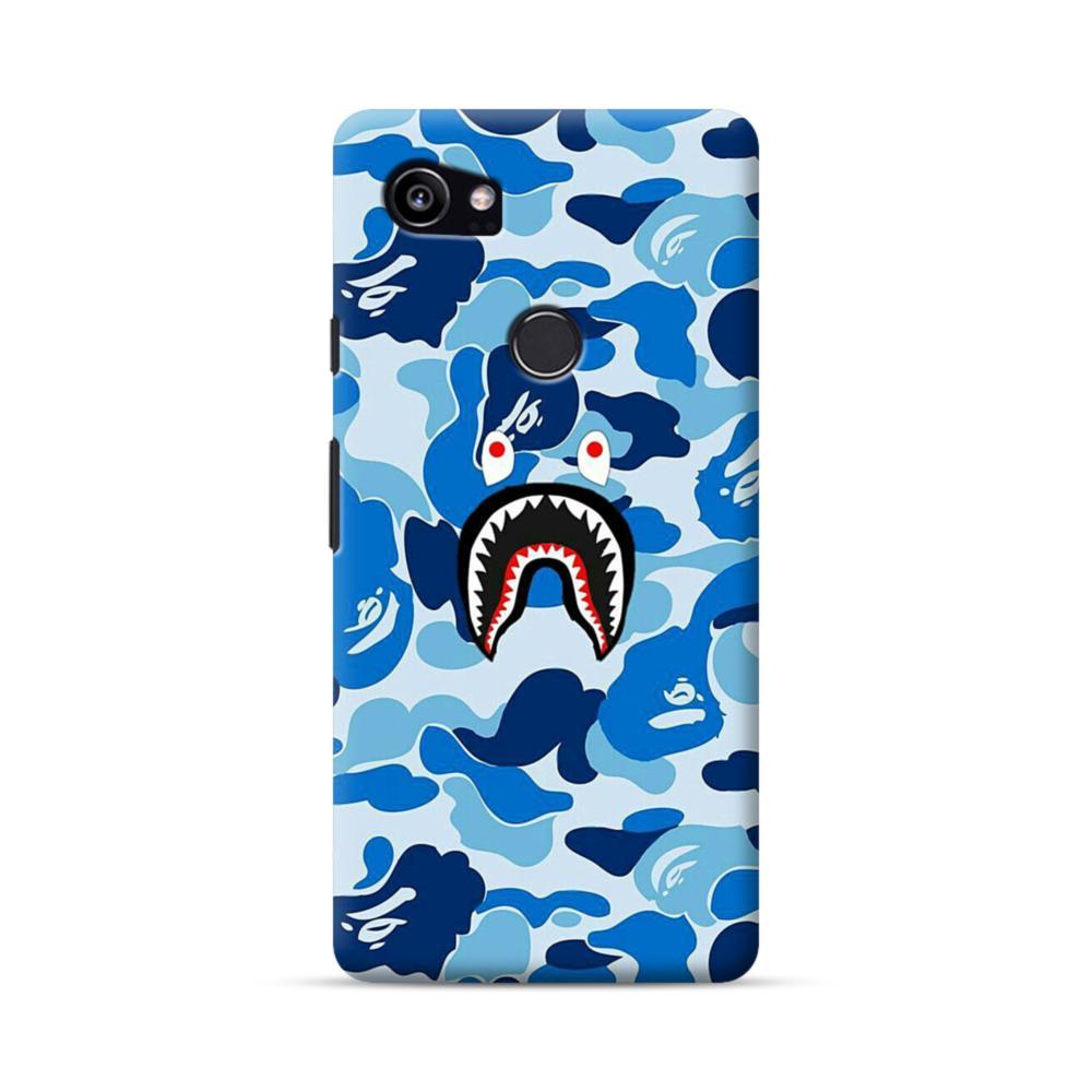 newest 0c641 197bf Bape Shark Blue Camo Google Pixel 2 XL Case