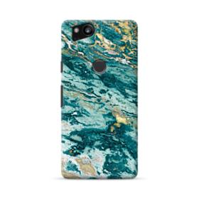 Turquoise and Gold Marble Google Pixel 2 Case