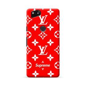 Classic Red Louis Vuitton Monogram x Supreme Logo Google Pixel 2 Case
