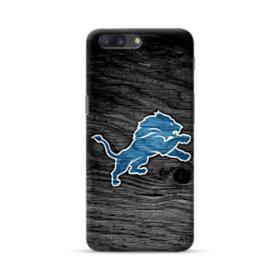 Detroit Lions Logo Black Wood Texture OnePlus 5 Case