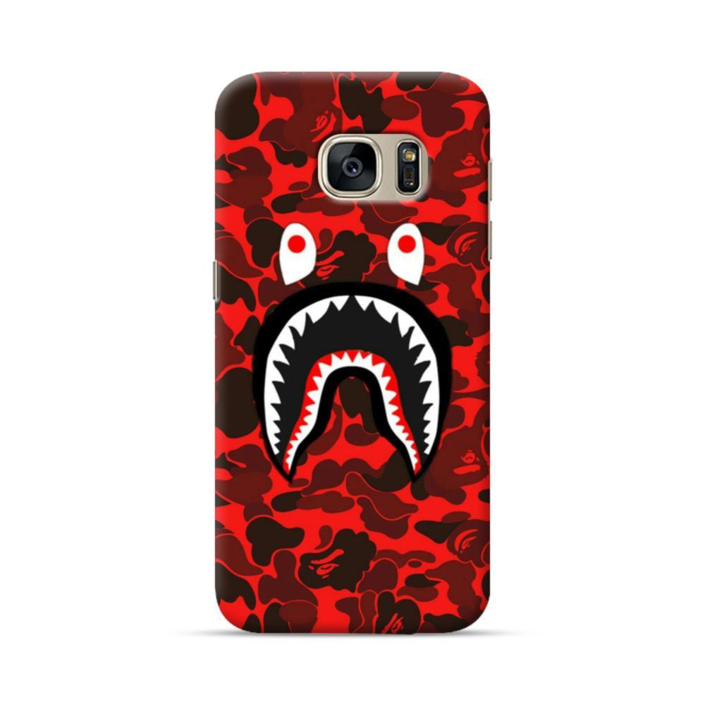newest 15de9 3a516 Bape Logo Red Camo Samsung Galaxy S7 Case