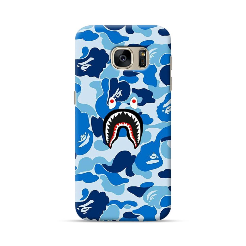 size 40 ca393 d51e6 Bape Shark Blue Camo Samsung Galaxy S7 Case