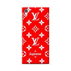 Classic Red Louis Vuitton Monogram x Supreme Logo Sony Xperia XA1 Plus Case