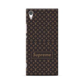 Classic Louis Vuitton Brown Monogram x Supreme Logo Sony Xperia XA1 Plus Case