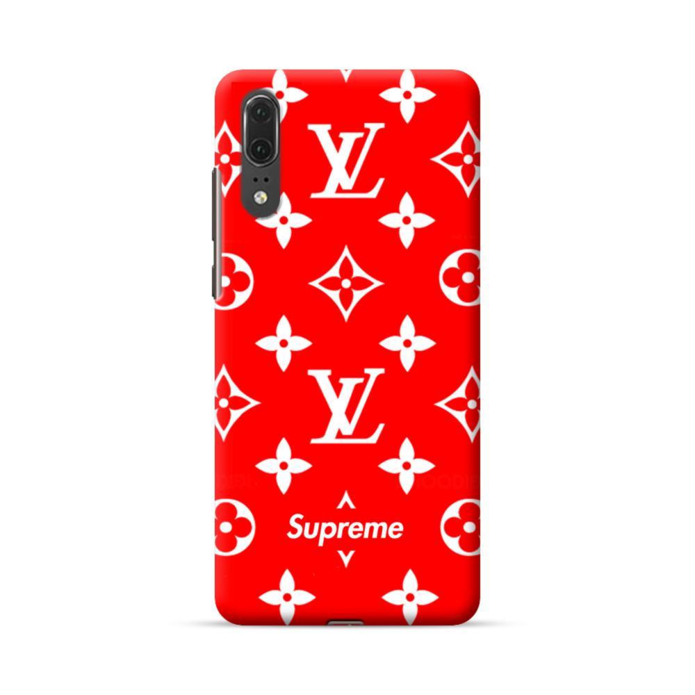 miglior sito web 508e1 89101 Classic Red Louis Vuitton Monogram x Supreme Logo Huawei P20 Case