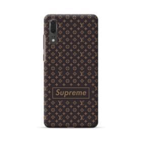 Classic Louis Vuitton Brown Monogram x Supreme Logo Huawei P20 Case