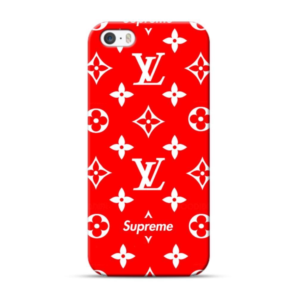 brand new 8f211 96d39 Classic Red Louis Vuitton Monogram x Supreme Logo iPhone 5S, 5 Case