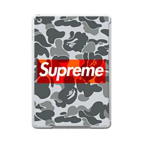 Red Supreme Logo with Ape Gray Camouflage Pattern iPad 9.7 (2017) Case