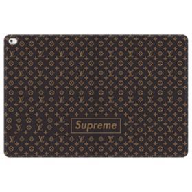 Classic Louis Vuitton Brown Monogram x Supreme Logo iPad Pro 12.9 (2015) Folio Leather Case