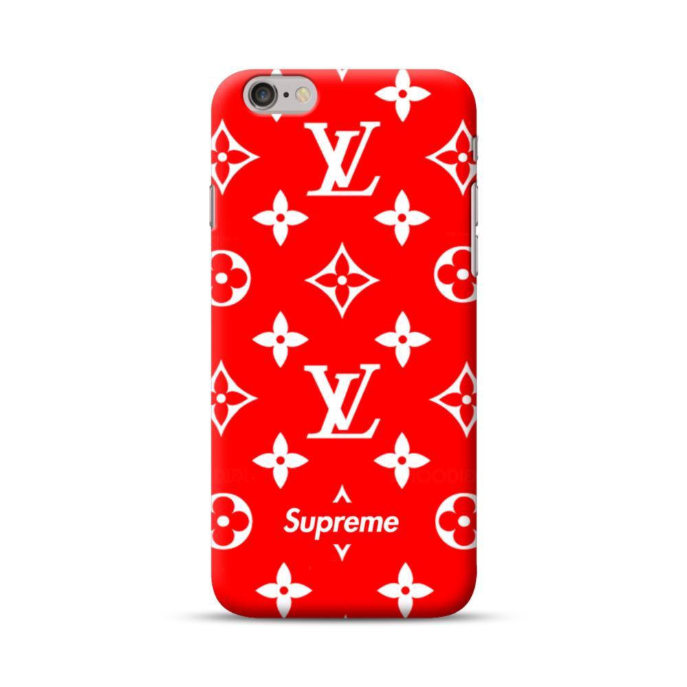 Classic Red Louis Vuitton Monogram X Supreme Logo Iphone 6s 6 Case
