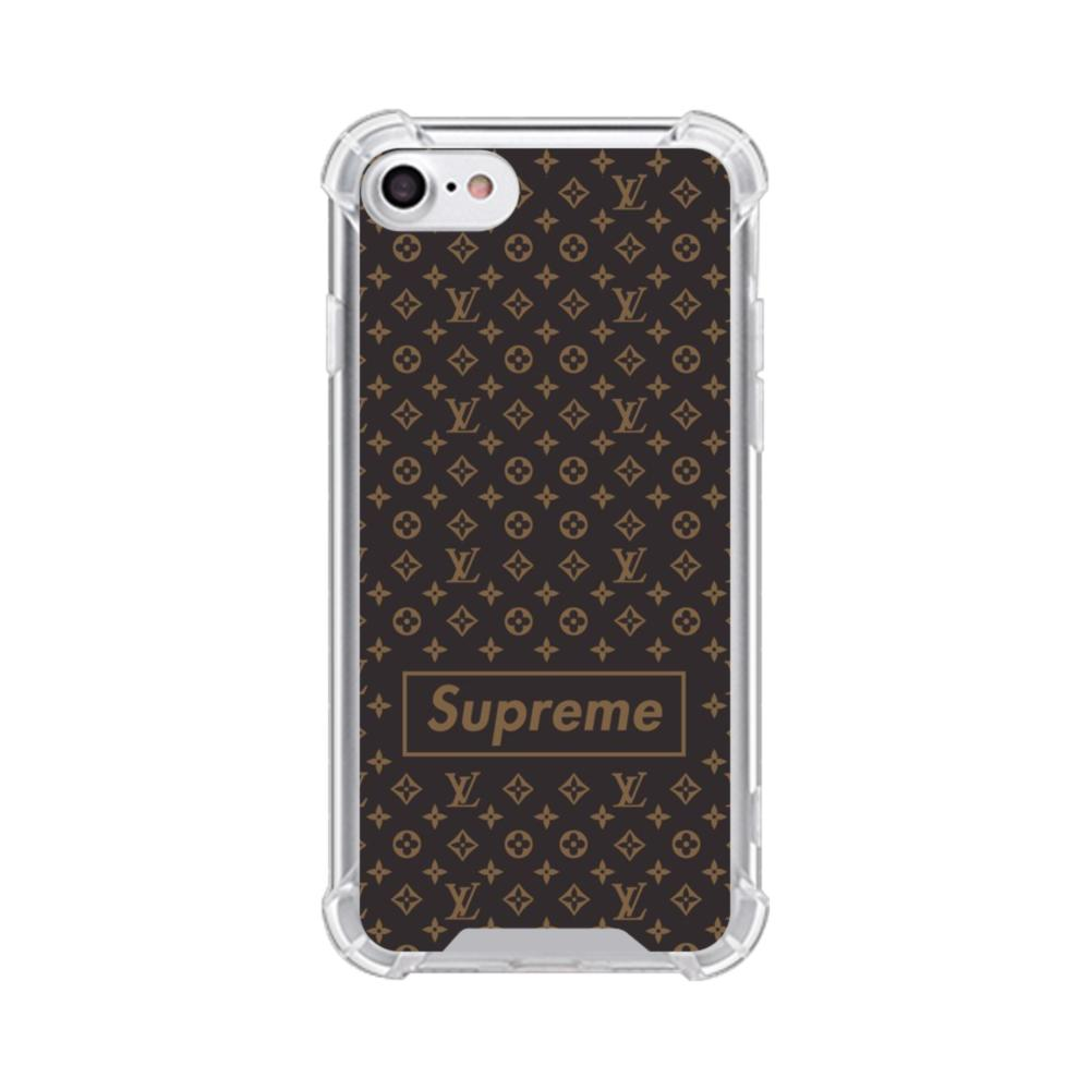 check out b468a a0853 Classic Louis Vuitton Brown Monogram x Supreme Logo iPhone 7 Clear Case
