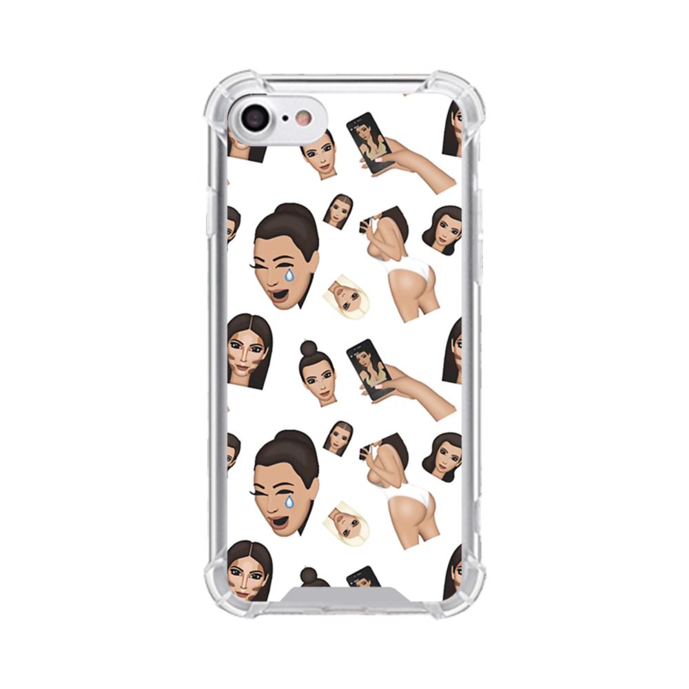newest 14a93 6538d Kim Kardashian Emoji Kimoji seamless iPhone 8 Clear Case