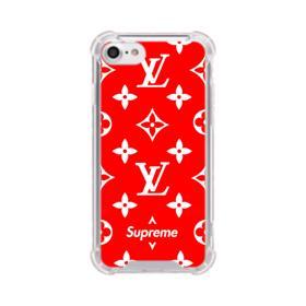 Classic Red Louis Vuitton Monogram x Supreme Logo iPhone 8 Clear Case