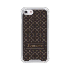 Classic Louis Vuitton Brown Monogram x Supreme Logo iPhone 8 Clear Case
