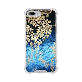 Blue Gold Damask iPhone 8 Plus Clear Case