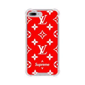 Classic Red Louis Vuitton Monogram x Supreme Logo iPhone 8 Plus Clear Case