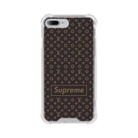 Classic Louis Vuitton Brown Monogram x Supreme Logo iPhone 8 Plus Clear Case
