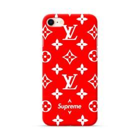 Classic Red Louis Vuitton Monogram x Supreme Logo iPhone 8 Case
