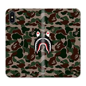 Bape shark camo print iPhone X Wallet Leather Case