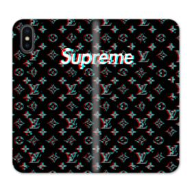 Supreme x Louis Vuitton Black Shaking Design iPhone X Wallet Leather Case