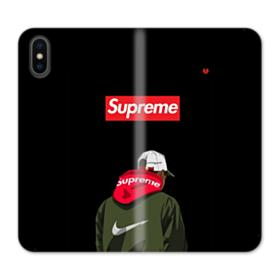 Supreme x Nike Hoodie iPhone X Wallet Leather Case