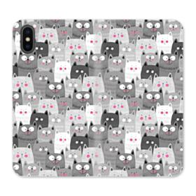 Lovely Cats Crowd iPhone X Wallet Leather Case