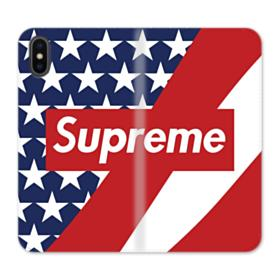 Supreme Logo with USA Flag iPhone X Wallet Leather Case