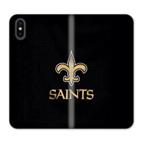 New Orleans Saints Team Logo Dots Black iPhone X Wallet Leather Case