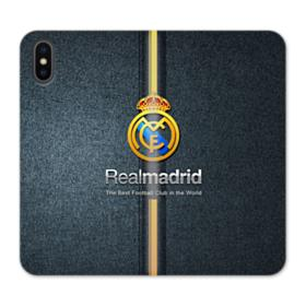 Real Madrid Team Logo Gold Stripes iPhone X Wallet Leather Case