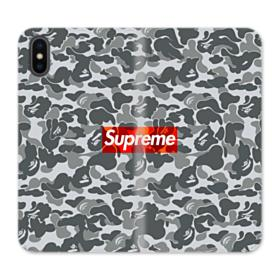 Bape x Supreme iPhone X Wallet Leather Case