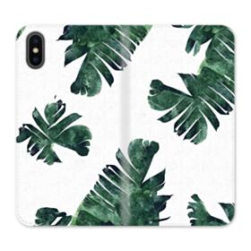 Green Palm Leaves iPhone X Wallet Leather Case