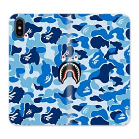 Bape Shark Blue Camo iPhone X Wallet Leather Case