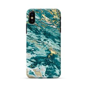 Turquoise and Gold Marble iPhone X Case