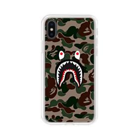 Bape shark camo print iPhone X Clear Case