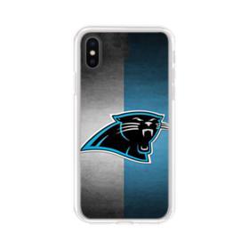 Carolina Panthers Logo Grunge Mesh iPhone X Clear Case