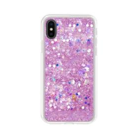 Pink Sparkling Glitter Flakes iPhone X Clear Case