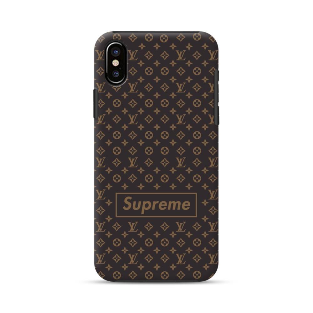the best attitude cdd03 302e9 Classic Louis Vuitton Brown Monogram x Supreme Logo iPhone X Hybrid Case