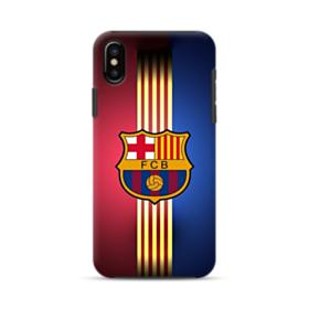FC Barcelona Gold Vertical Stripes iPhone X Hybrid Case