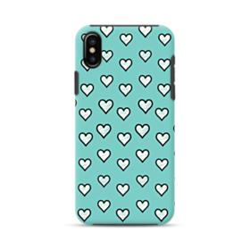 Lovely Hearts in Tiffany Blue iPhone X Hybrid Case