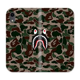 Bape shark camo print iPhone XR Wallet Leather Case