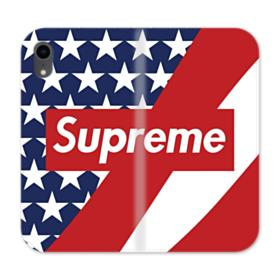 Supreme Logo with USA Flag iPhone XR Wallet Leather Case