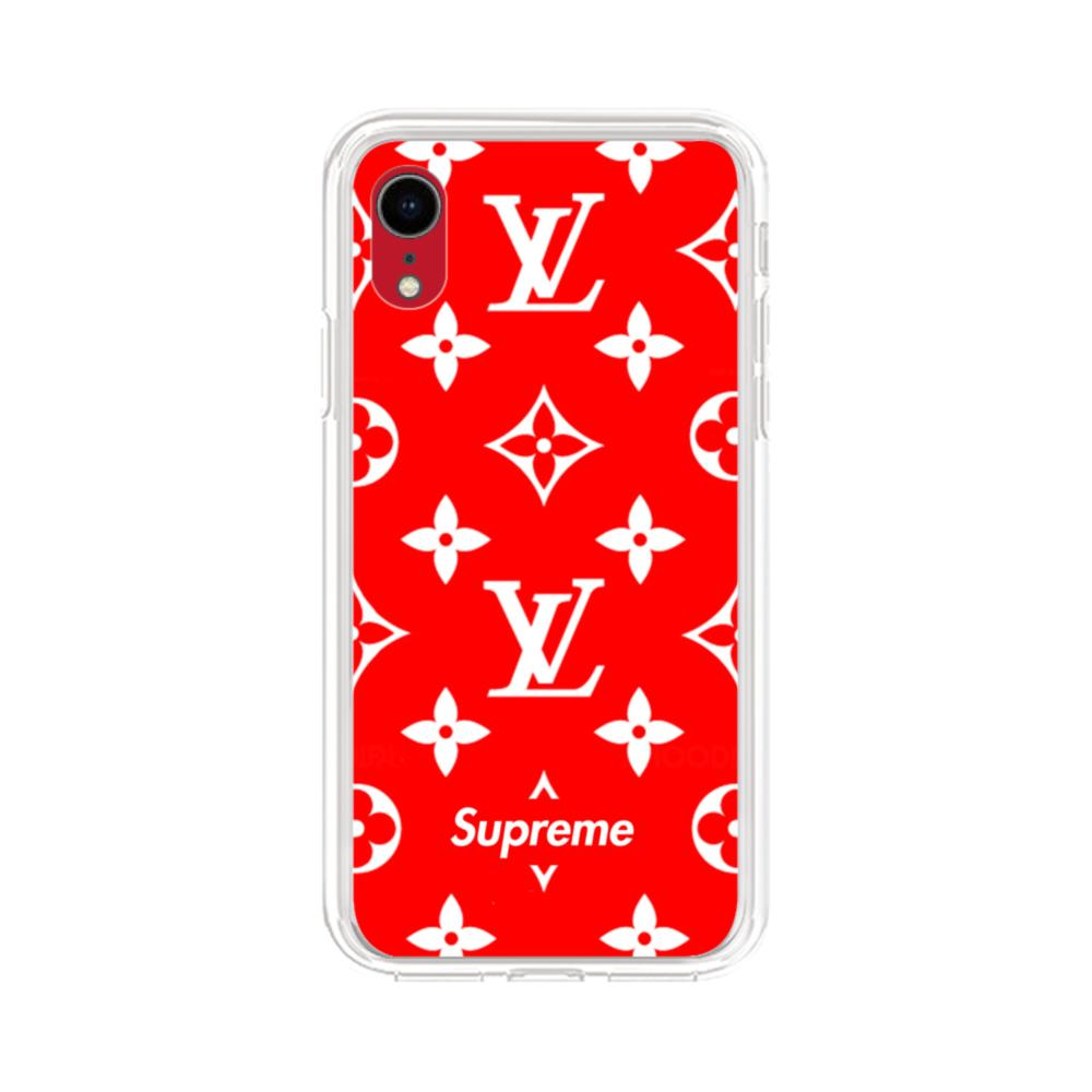 finest selection aaa3a 5bf13 Classic Red Louis Vuitton Monogram x Supreme Logo iPhone XR Clear Case