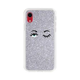 Silver Glitter Eyes iPhone XR Clear Case