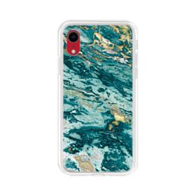 Turquoise and Gold Marble iPhone XR Clear Case