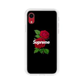 Supreme logo with Red Peony iPhone XR Clear Case