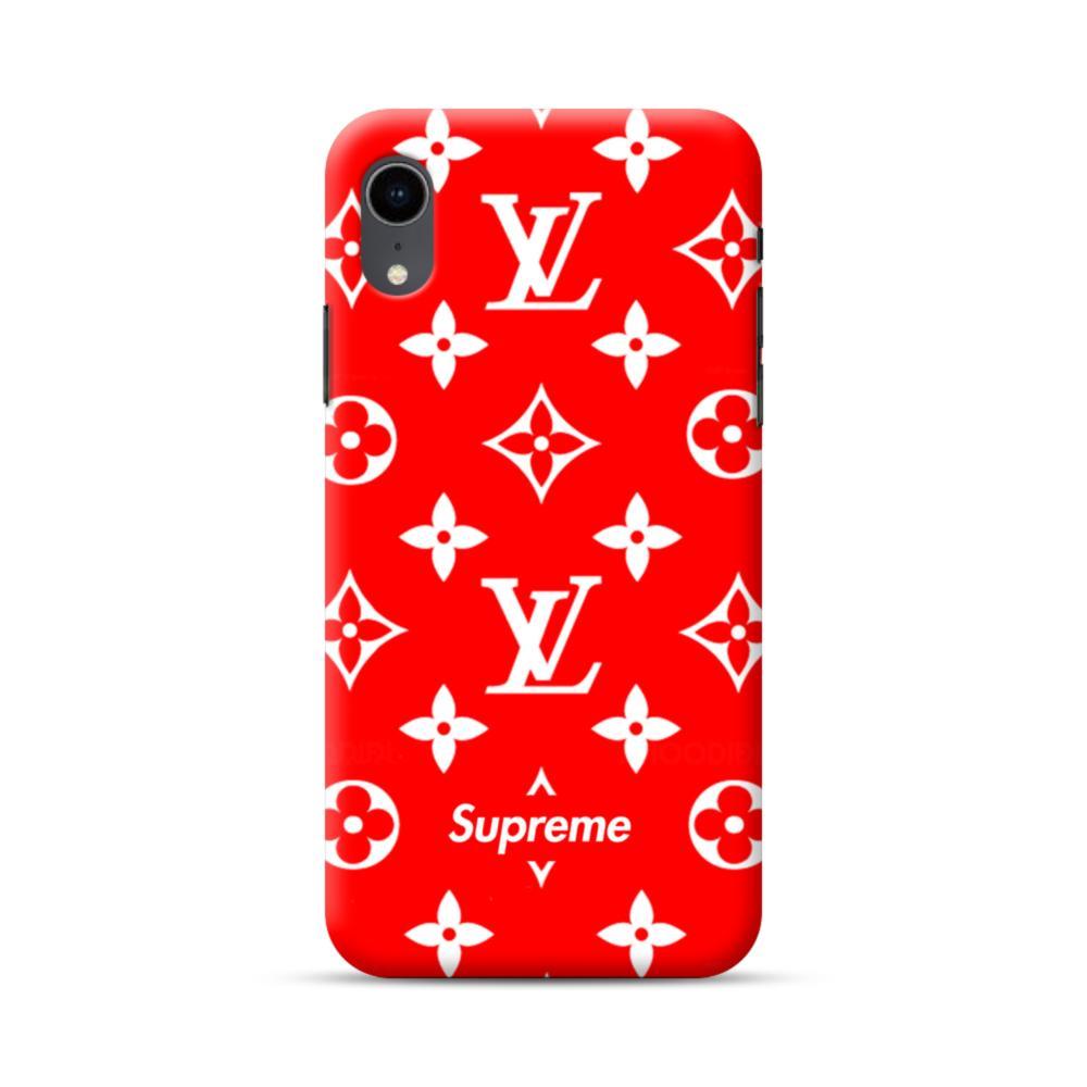 Classic Red Louis Vuitton Monogram x Supreme Logo iPhone XR Case