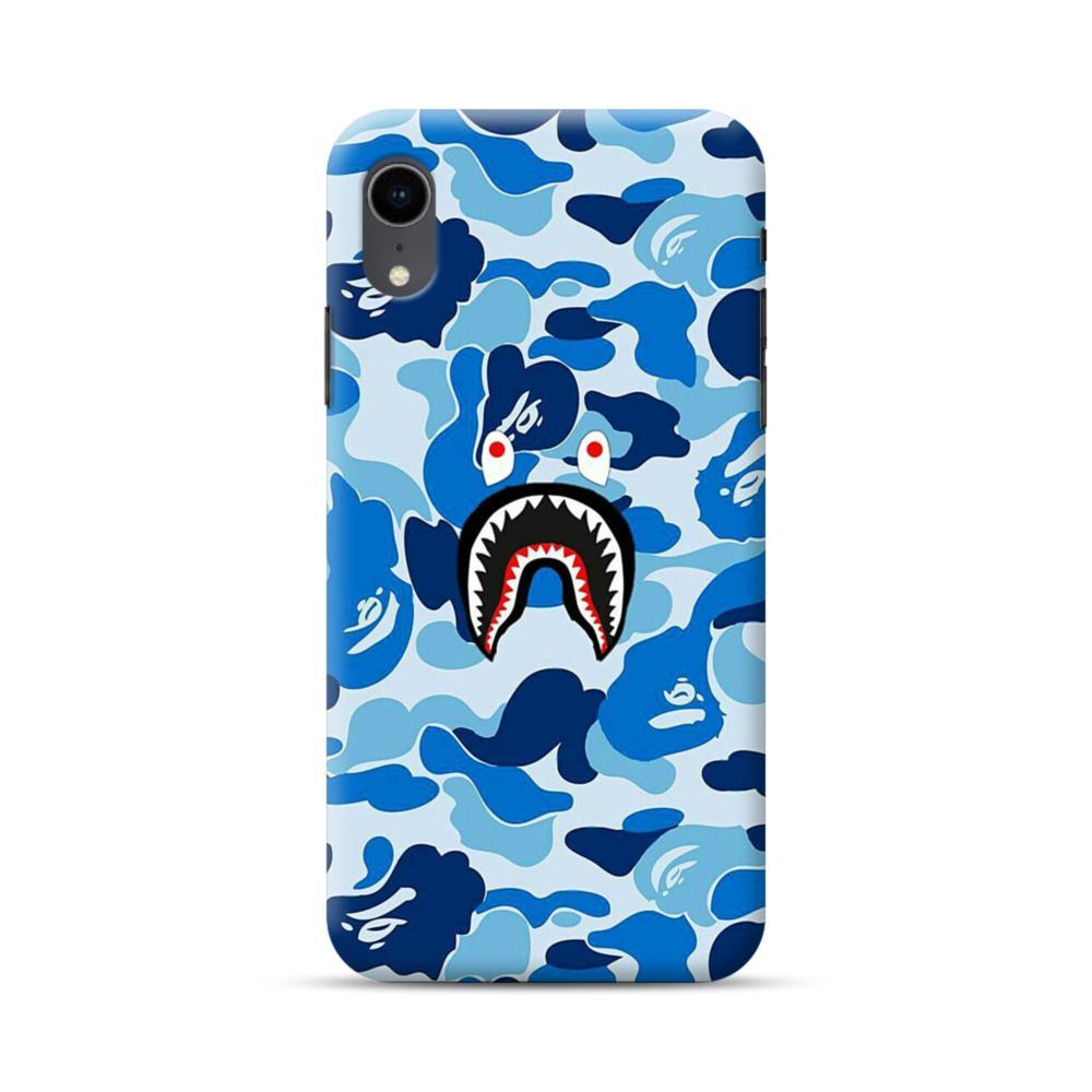 timeless design 9abdd 5a0fd Bape Shark Blue Camo iPhone XR Case