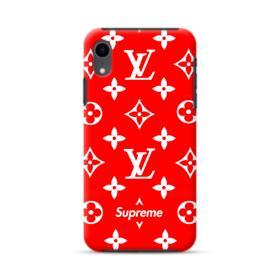 Classic Red Louis Vuitton Monogram x Supreme Logo iPhone XR Hybrid Case