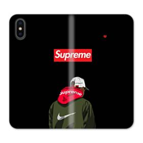Supreme x Nike Hoodie iPhone XS Wallet Leather Case