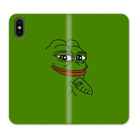 Smug Pepe Frog Funny Meme iPhone XS Wallet Leather Case